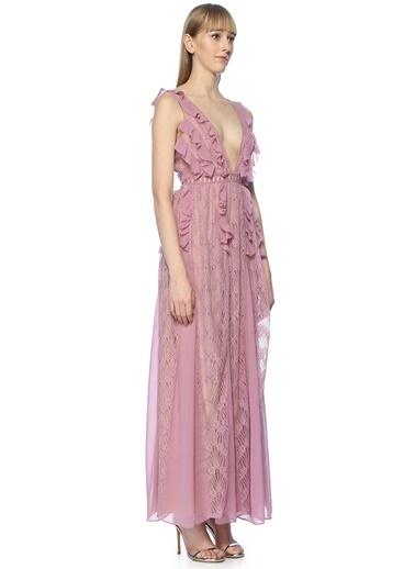 True Decadence V Yaka Fırfırlı Dantelli Uzun Abiye Elbise Mor